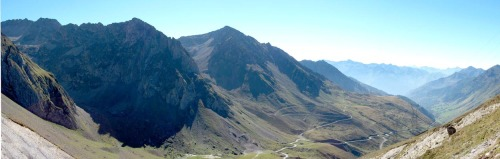 The west side of Col du Tourmalet viewed from the top -- the highest paved road in the French Pyrénées at 2115m (6939')