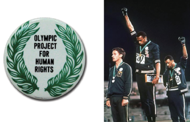 Olympic Project for Human Rights button, worn by activist athletes in the 1968 Olympic games, originally called for a boycott of the 1968 Olympic Games. The iconic photo appears in many history textbooks, stripped of the story of the planned boycott and demands, creating the appearance of a solitary act of defiance.