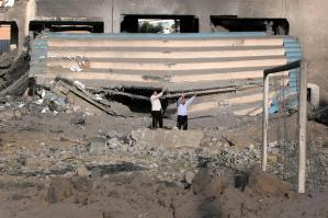 rubble of the Palestine Sports Stadium in Gaza City Mahumd Hamsmah:AFP:Getty Images