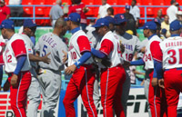 Cuban and Dominican players shake hands