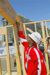 Cubam pitcher Yadel Marti at Katrina housing site