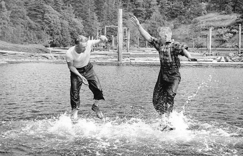 Ardy Wickheim, right, and brother Jube birling in Sooke Basin on Vancouver Island. The brothers won 14 word titles in 15 years. | Sooke River Museum