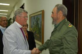 Fidel greets Angel Iglesias, the delegation's leader