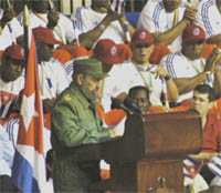 Then president Fidel Castro addresses the Cuban national team which finished second in the 2006 Classic