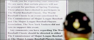 Sign posted at the New York Yankees' training camp in Florida