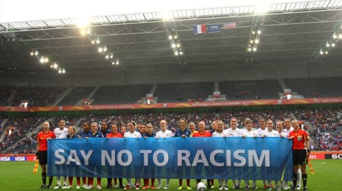 "FIFA's ubiquitous banner. Article 3 of the FIFA Statutes states: ""Discrimination of any kind against a Country, private person or group of people on account of race, skin colour, ethnic, national or social origin, gender, language, religion, political opinion or any other opinion, wealth, birth or any other status, sexual orientation or any other reason is strictly prohibited and punishable by suspension or expulsion."""
