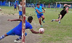The massive popularity of football can be verified at Havana's Ciudad Deportiva.