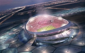An artist's impression of the Lusail City stadium, designed for the Qatar 2022 World Cup final. Scots of migrant workers toiling in slave-like conditions have reportedly died constructing such monstrosities,