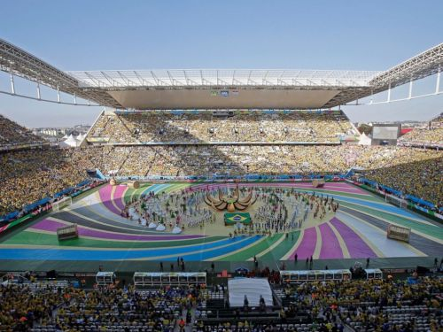 """Itaquerao Stadium. """"The Opening Ceremony is a tribute to Brazil and its treasures: nature, people football,"""" the show's artistic director, Daphne Cornez, told FIFA 
