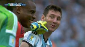 What was Vincent Enyeama saying to Lionel Messi here?