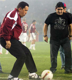 Diego Maradona and the late Hugo Chavez
