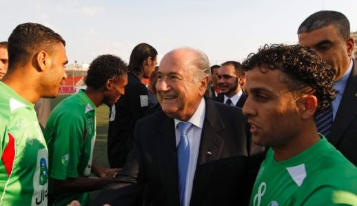 FIFA Preident Sepp Blatter greets members of the Palestinian refugee camp team on May 15, 2011. FIFA votes on the expulsion of Israel on May 29.