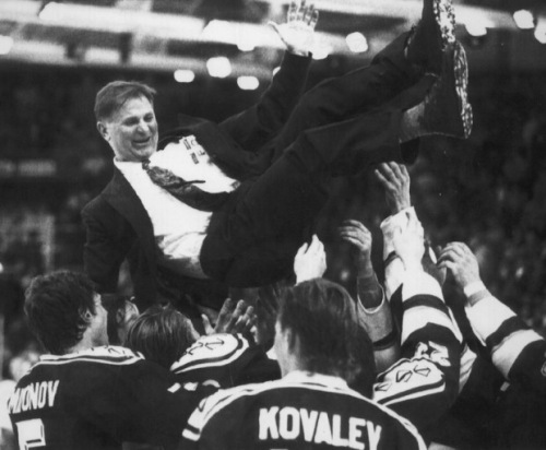Viktor Tikhonov is hoisted by players after winning the 1992 world title