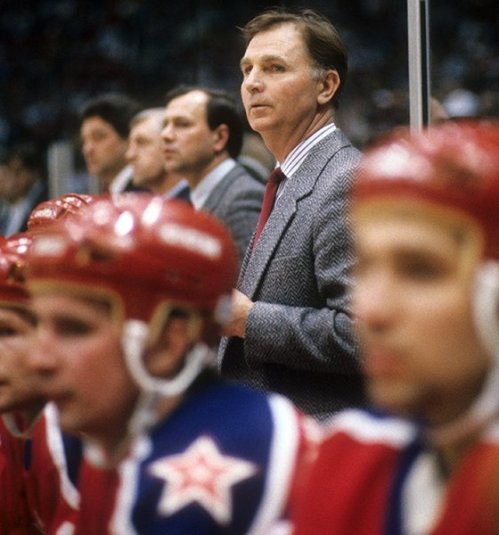 Tikhonov was a coach who kept his tactics and techniques close to the vest. Photot hsows him as Head coach ofof CSKA Moscow looking on from behind the bench during a game against the New York Islanders on December 29, 1988 at the Nassau Coliseum in Uniondale, New York. | Getty
