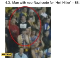"A Man with neo-Nazi code for ""Heil Hitler"" in Lviv Arena"