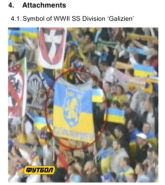 A banner on display of the SS Galicia Division of the Nazi German army during the Sept. 6, 2013 World Cup qualifier between Ukraine and San Marino in Lviv | Mark Rachkevych, Kiev Post