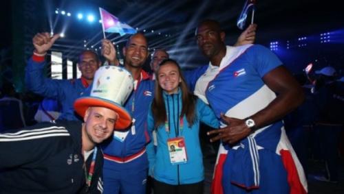 Cuban athletes celebrate during the games' closing ceremony   Photo: Veracruz 2014 CACG