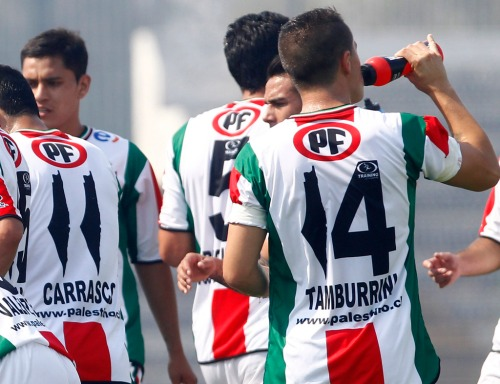 On this January 4, 2014 picture taken in Santiago, players of the CD Palestino first division football club wear new jerseys, in which the number one was replaced with a 1948 Palestine map. This map, which therefore includes the current state of Israel without specifying its borders, caused controversy in the Jewish community in Chile. Photo by STR/AFP/Getty Images (Click to enlarge)