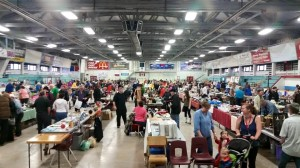 Photo shows a fund-raiser in Bridgewater, Nova Scotia called the worlds' largest garage sale, held earlier this month.