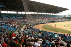 Built in 1946, Estadio Latinoamericano is by far the largest ballpark in Cuba, with a capacity of 55,000. The entire grandstand is covered, and there are open bleachers in the outfield. It is the home of Los Industriales and the Cuban Baseball Hall of Fame | http://ballparkdigest.com/