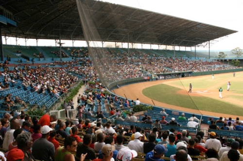Built in 1946, Estadio Latinoamericano, the home of the Havana Sugar Kings, is by far the largest ballpark in Cuba, with a capacity of 55,000. Known as the Colossus of Cerro and Gran Stadium, the entire grandstand is covered, and there are open bleachers in the outfield. It is the home of Los Industriales and the Cuban Baseball Hall of Fame | http://ballparkdigest.com/