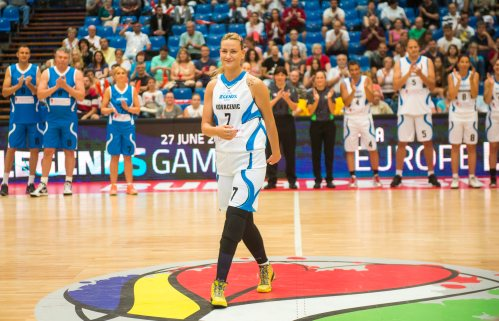 Serbian basketball player Natasa Kovacevic, who survived a bus crash with her team UNI Gyor of Hungary in 2013 and lost her left leg in the incident, is applauded during her first appearance on a basketball court at the All Star gala of the Women's Basketball European Championship in Budapest, Hungary, 27 June 2015. Natasa Kovacevic is the honour guest of the gala | EPA/Illyes Tibor HUNGARY OUT Click to enlarge