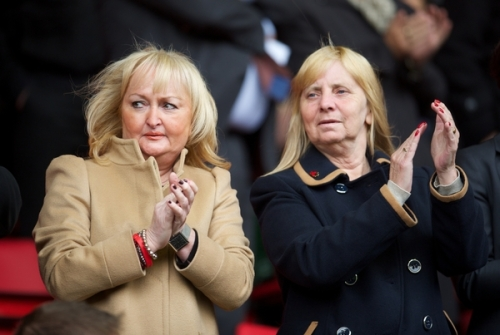 LIVERPOOL, ENGLAND - Sunday, September 23, 2012: Jenni Hicks and Margaret Aspinall, mothers of victims of the Hillsborough Stadium Disaster, watch Liverpool take on Manchester United during the Premiership match at Anfield. (Pic by David Rawcliffe/Propaganda)