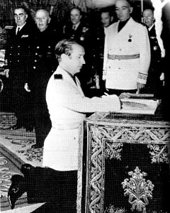 Samaranch, a member of Franco's fascist party, being sworn in, 1974