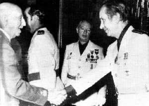 In the 1950s Samaranch entered politics via Barcelona city council, later joining Franco's rubber-stamp Cortes, Spain's upper house of parliament (pictured, 1974). In the last years of the dictatorship, Samaranch was appointed political chief of Catalonia, wearing fascist uniform and giving the right-arm salute until Franco's death in 1975.