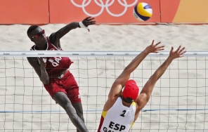 Qatar's beach volleyball team includes Samba Cherif Younousse of Senegal