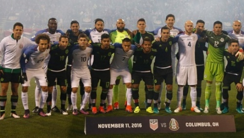 US and Mexico players unite for a team photo ahead of their World Cup qualifier in Colombus. US and Mexico players unite for a team photo ahead of their World Cup qualifier in Colombus. | Photo: AFP