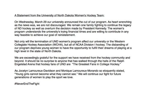2017.04.North Dakota women's hockey statement
